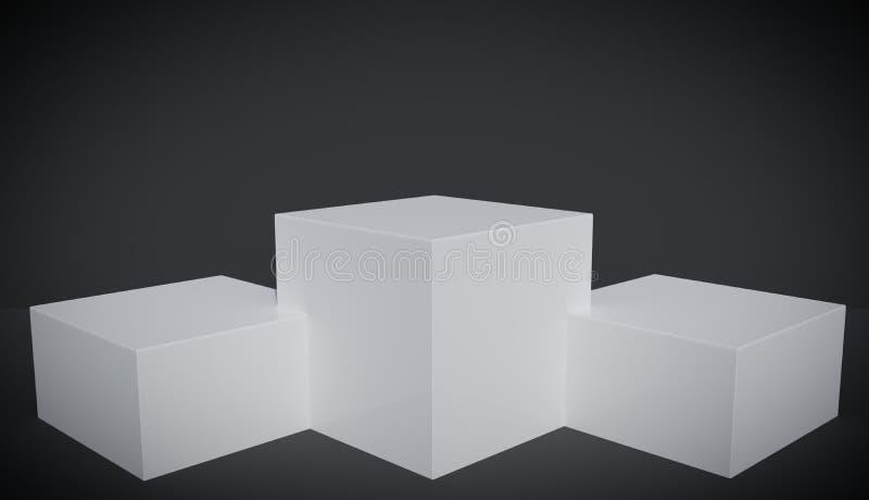 Vignette version of three white square platforms with black background, studio. royalty free illustration