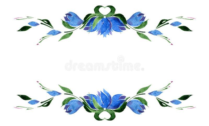 Vignette von blauen Glockenblumen und von Grünblättern watercolor isolat vektor abbildung