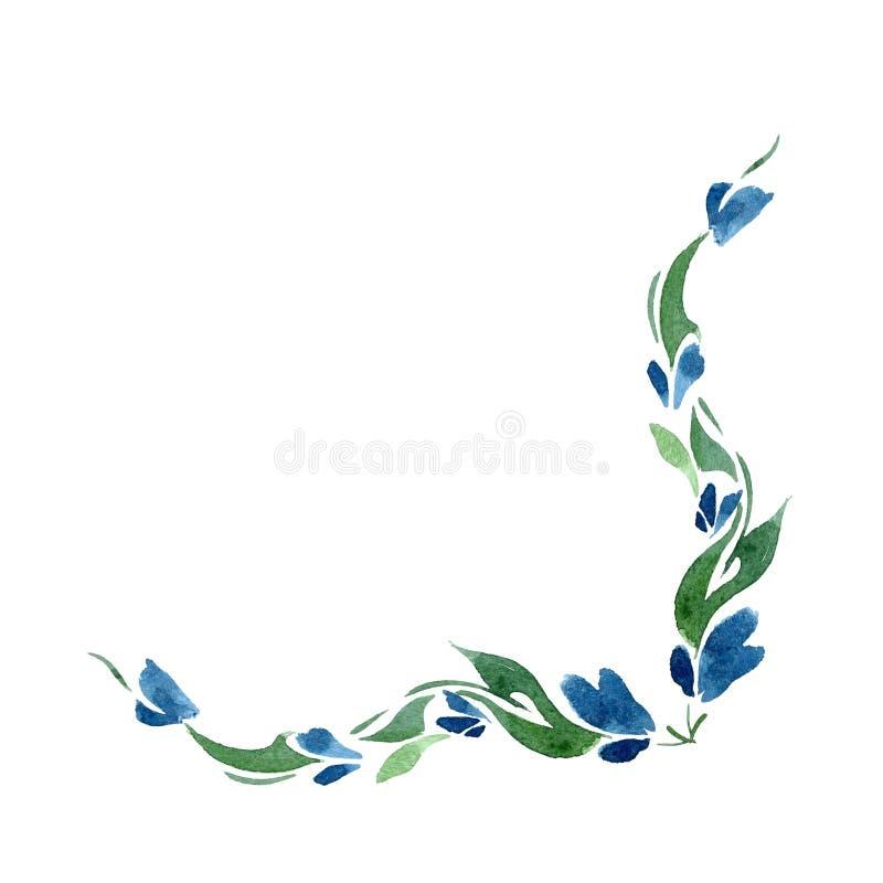 Vignette von blauen Glockenblumen und von Grünblättern watercolor isolat stock abbildung