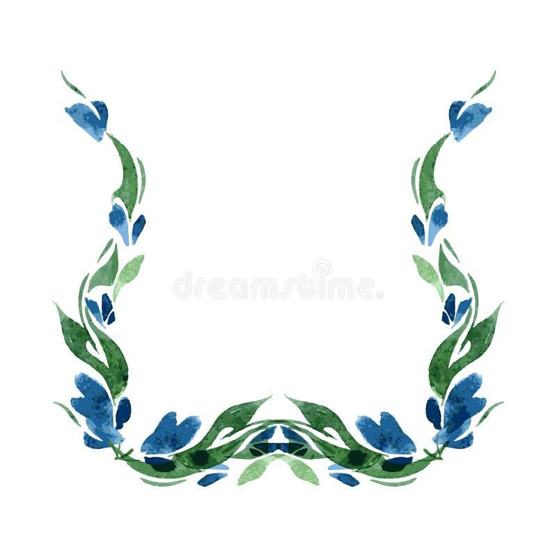 Vignette von blauen Glockenblumen und von Grünblättern watercolor isolat Vektor stock abbildung