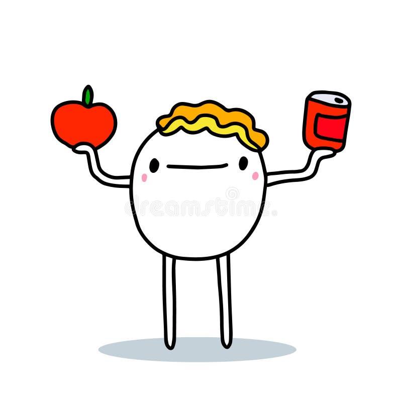 Vignettista che sceglie tra le verdure fresche di pomodoro e le conciature di alimenti disegnati a mano come illustrazione vettor illustrazione di stock