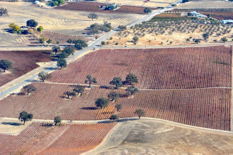 Vignobles d'automne de Paso Robles vus d'un avion - couleurs étonnantes d'automne image libre de droits