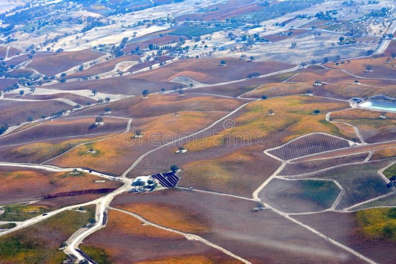 Vignobles d'automne de Paso Robles vus d'un avion - couleurs étonnantes d'automne photographie stock libre de droits