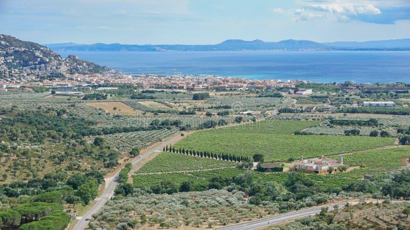 Vignobles et oliveraies de l'Espagne Costa Brava photo libre de droits