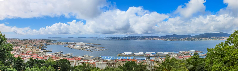 Panoramic view in Vigo from Castelo do Castro, Galicia, Spain. royalty free stock images