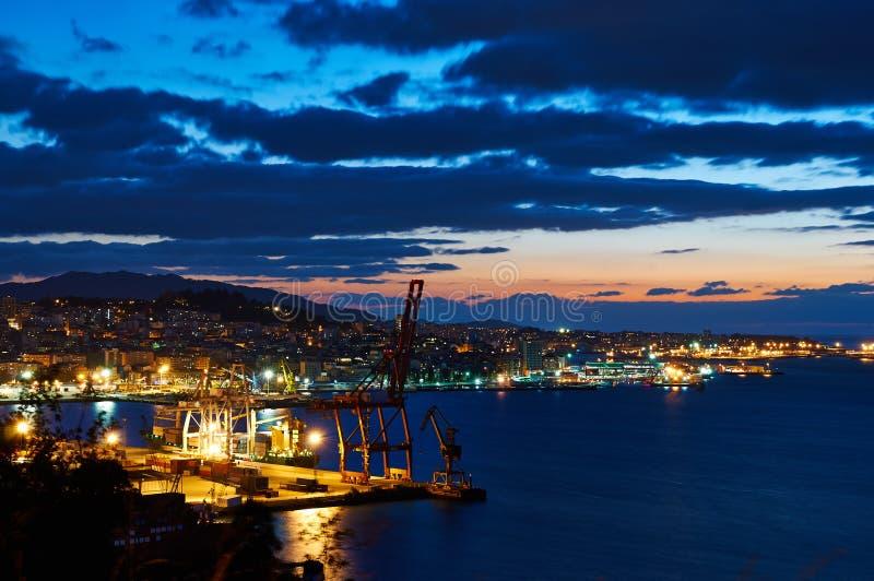 Vigo en la noche imagen de archivo libre de regalías