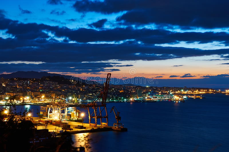 Vigo at night royalty free stock image