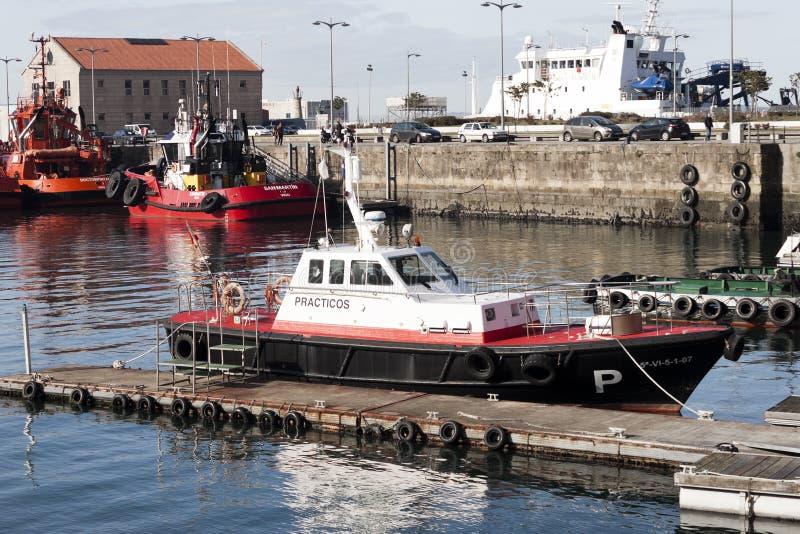 Vigo, Spain - Jan 24, 2020: Harbormaster boat moored in the port on January 24, 2020 in Vigo, Pontevedra, Spain royalty free stock image