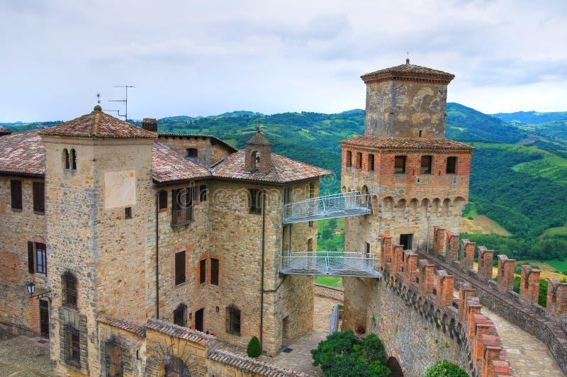 Vigoleno城堡。伊米莉亚罗马甘。意大利。 图库摄影