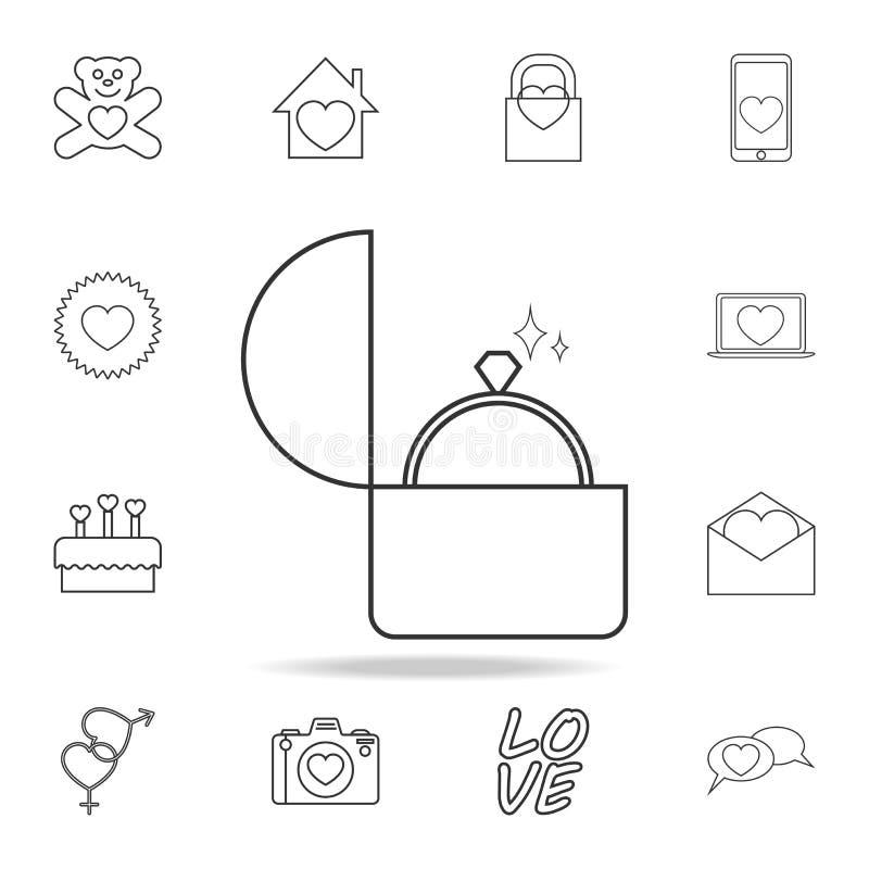 vigselring i en asksymbol Uppsättning av förälskelsebeståndsdelsymboler Högvärdig kvalitets- grafisk design Tecken symbol för öve stock illustrationer