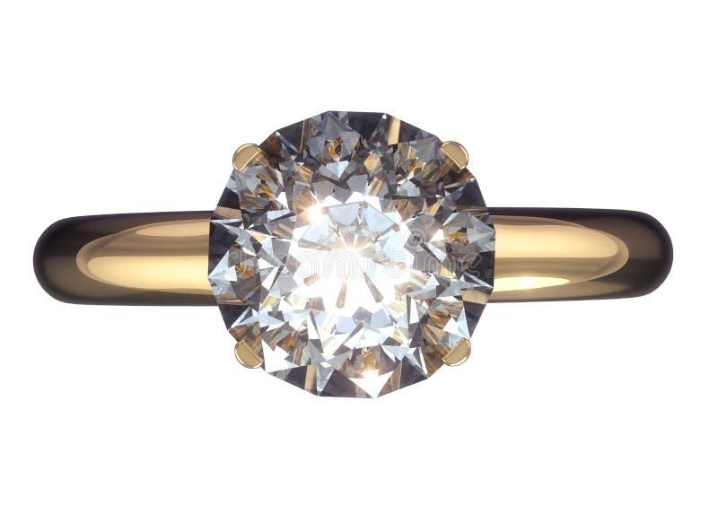 Vigselring med den stora diamanten royaltyfri bild