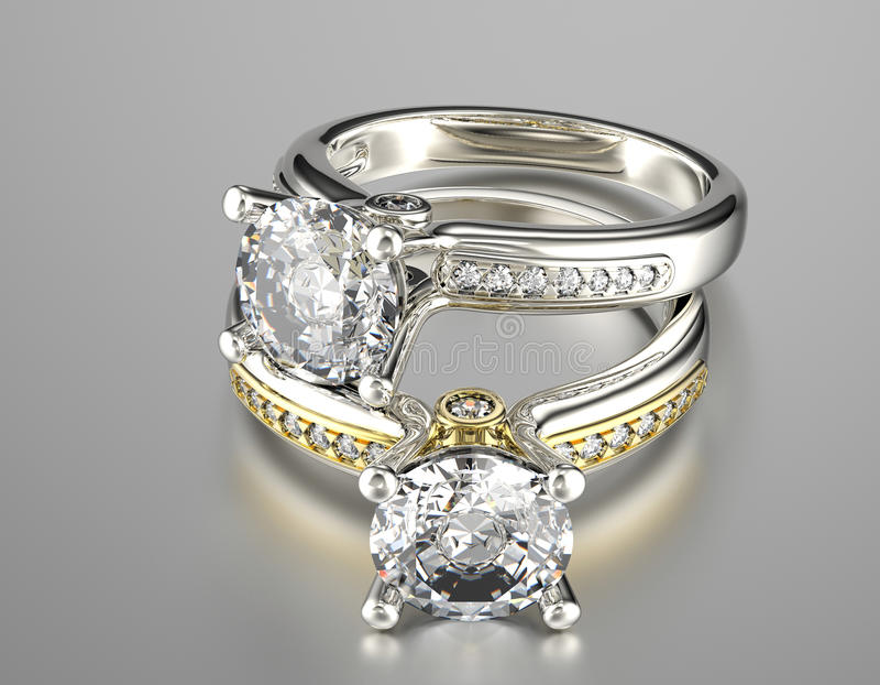 Vigselring med diamanten för tygguld för bakgrund svart silver för smycken royaltyfri bild