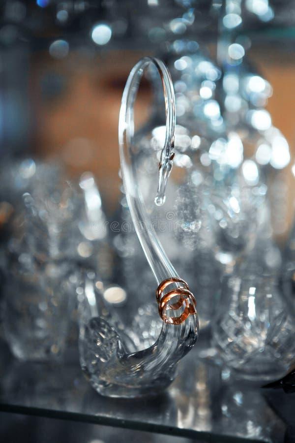 Vigselringar på en crystal svan royaltyfri fotografi
