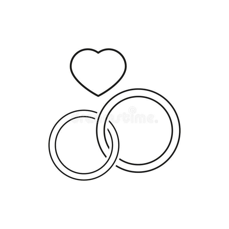 Vigselringsymboler två för att gifta sig beröm stock illustrationer