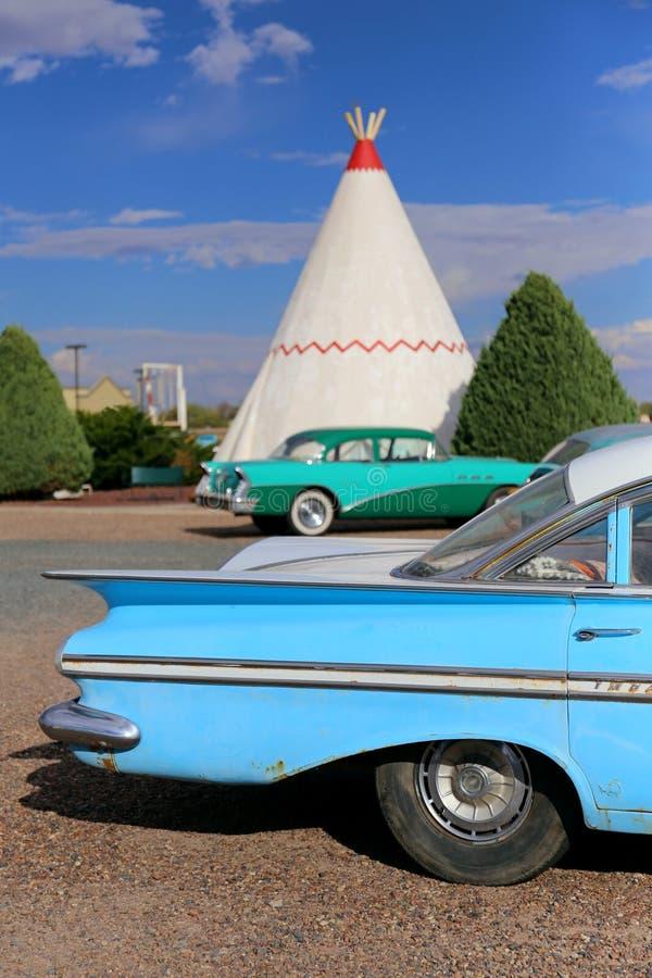Vigvamhotell Oktober 2014 Route 66 i Holbrook, Arizona, Förenta staterna fotografering för bildbyråer