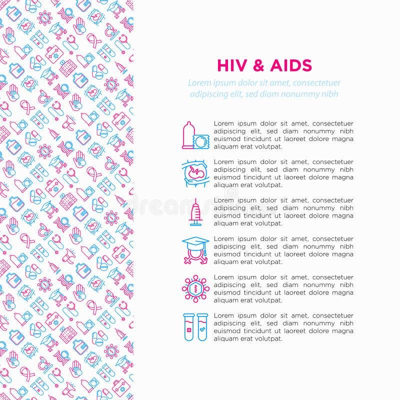 VIH y concepto Sida con la línea fina iconos ilustración del vector