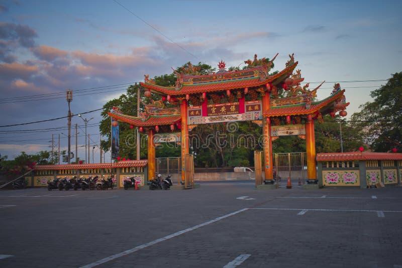 Vihara Satya Dharma är en modern kinesisk tempel på Benoa port, Bali Det är en tempel av 'Satya Dharma 'eller 'Shenism ', den syd royaltyfria bilder