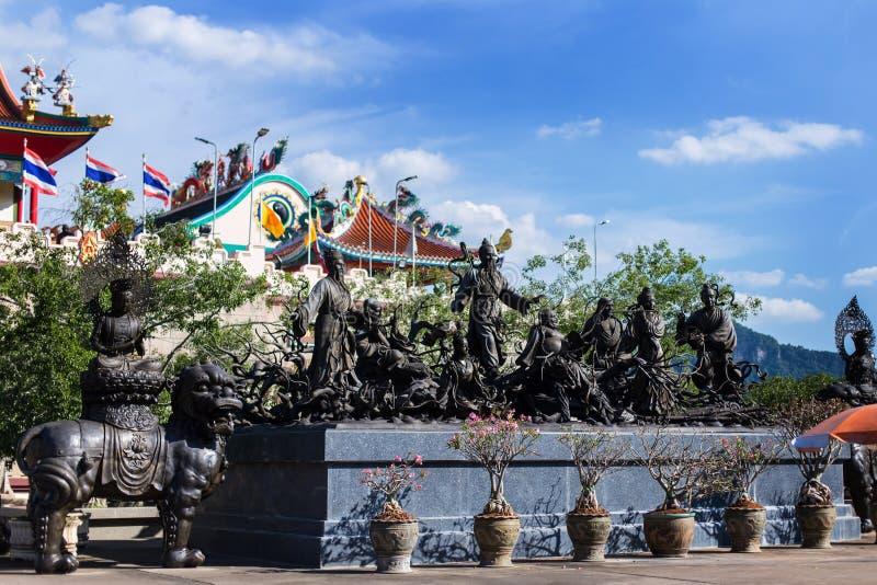 Viharnra Sien Anek Kusala Sala Chinese Temple In Pattaya, Chonburi, Thailand. Black statues of shaolin wariors. Museum stock image