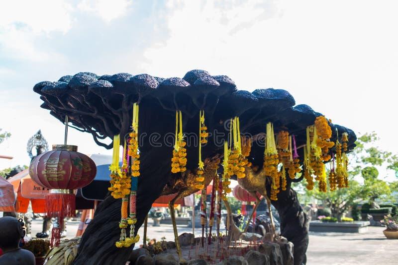 Viharnra Sien Anek Kusala Sala Chinese Temple In Pattaya, Chonburi, Thailand. Black statue for praying. Museum with a stock photo