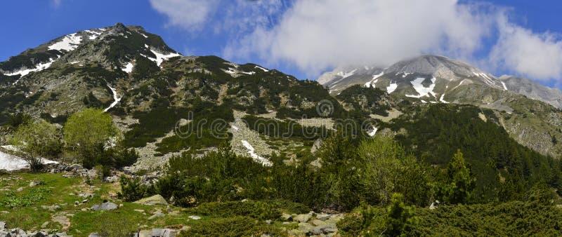Vihren山山顶Pirin,保加利亚全景  库存图片