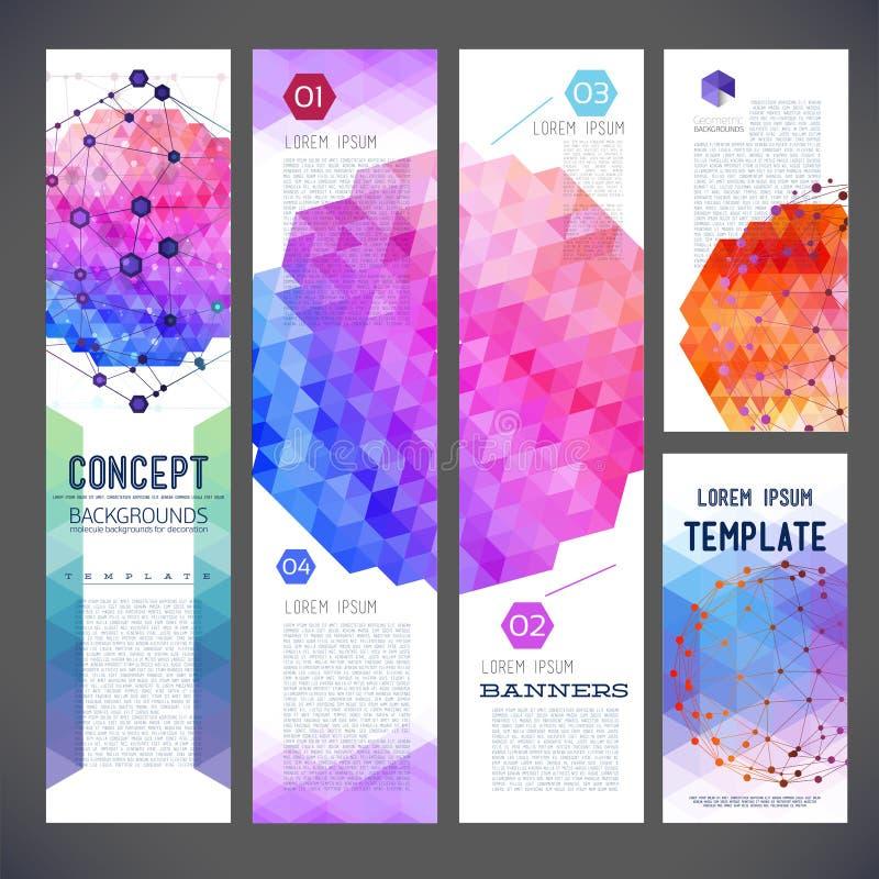 Vijf abstracte ontwerpbanners, bedrijfsthema, vlieger royalty-vrije illustratie