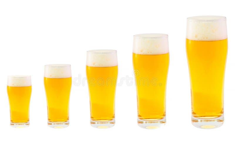 Vijf Bierglazen stock afbeeldingen