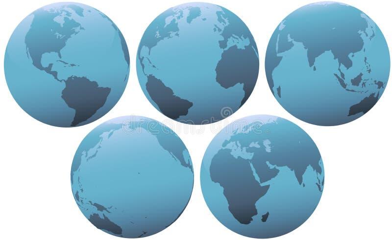 Vijf Bollen van de Aarde in Zacht Blauw Licht vector illustratie