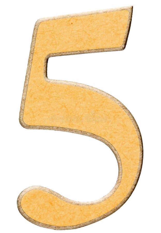 5, vijf, cijfer van hout combineerden met geel geïsoleerd tussenvoegsel, stock foto