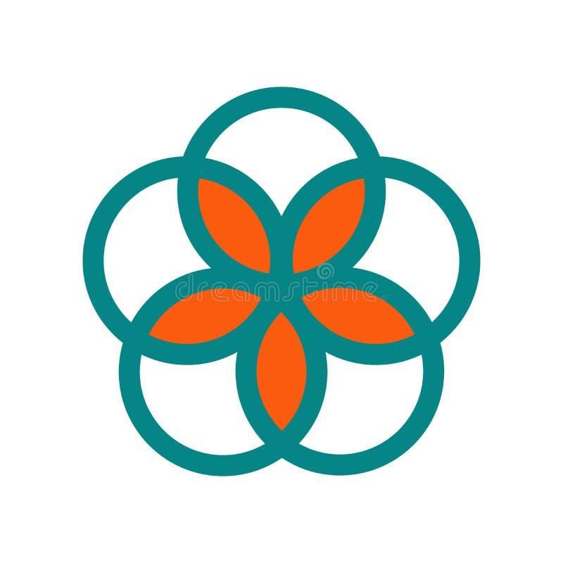 vijf cirkels samen, groepswerkconcept, infographic wiel, vectordieembleemillustratie op witte achtergrond wordt geïsoleerd royalty-vrije illustratie
