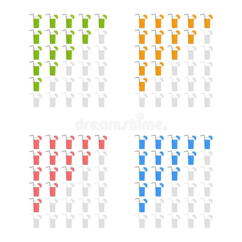 Vijf cocktails die pictogrammen schatten Evaluatie van het hotel, de dienst, product, kwaliteit Niveauresultaten of lifes in het  stock illustratie