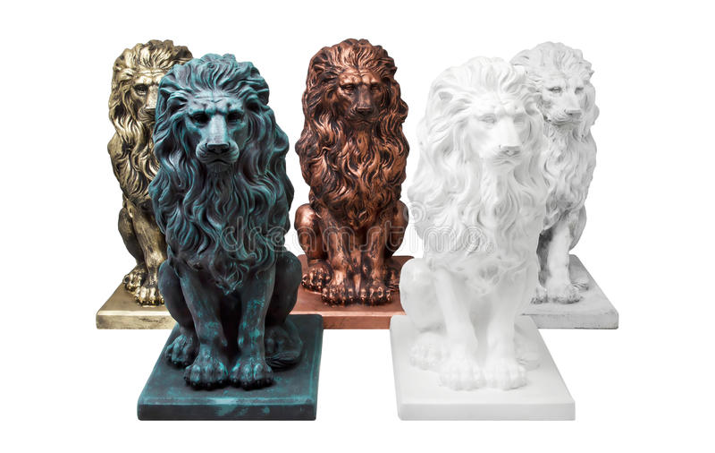Vijf concrete beeldhouwwerken van leeuwen royalty-vrije stock foto