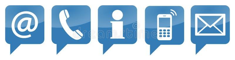 vijf contacteren ons geplaatste pictogrammen royalty-vrije illustratie