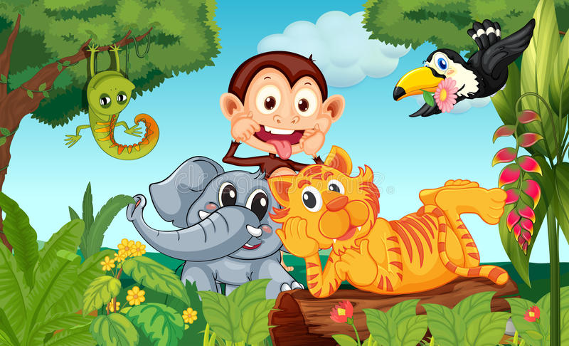 Vijf dieren bij het bos stock illustratie