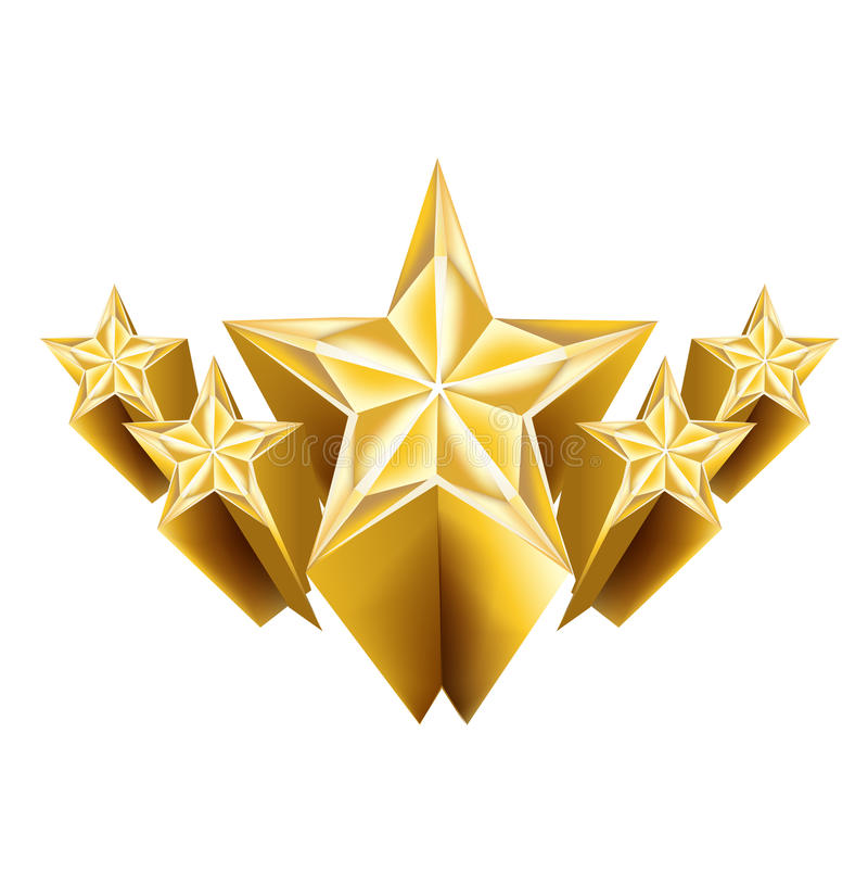 Vijf dimensionale gouden geïsoleerde sterren royalty-vrije illustratie