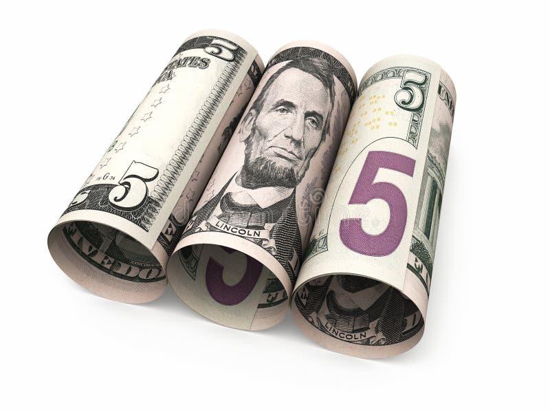 Vijf dollar bankbiljettenbroodje stock illustratie