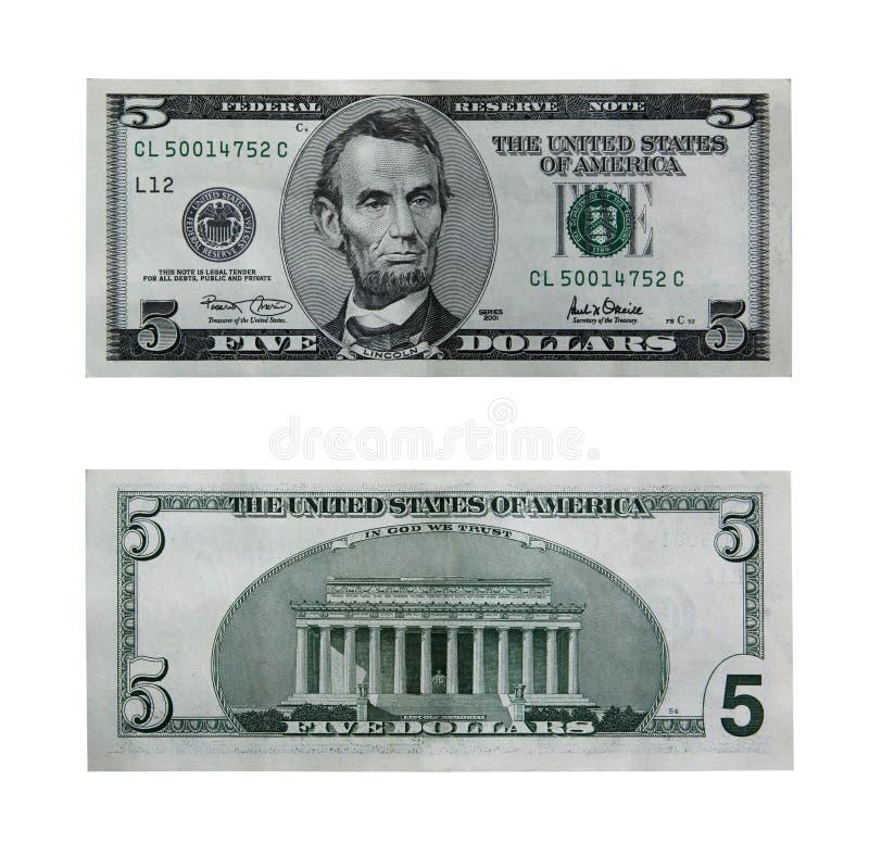 Vijf dollarrekening met weg stock afbeelding
