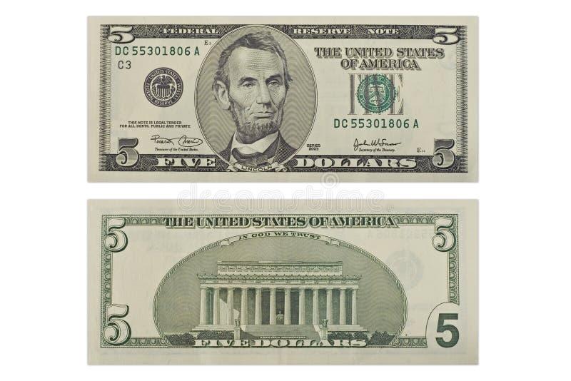 Vijf Dollars stock foto