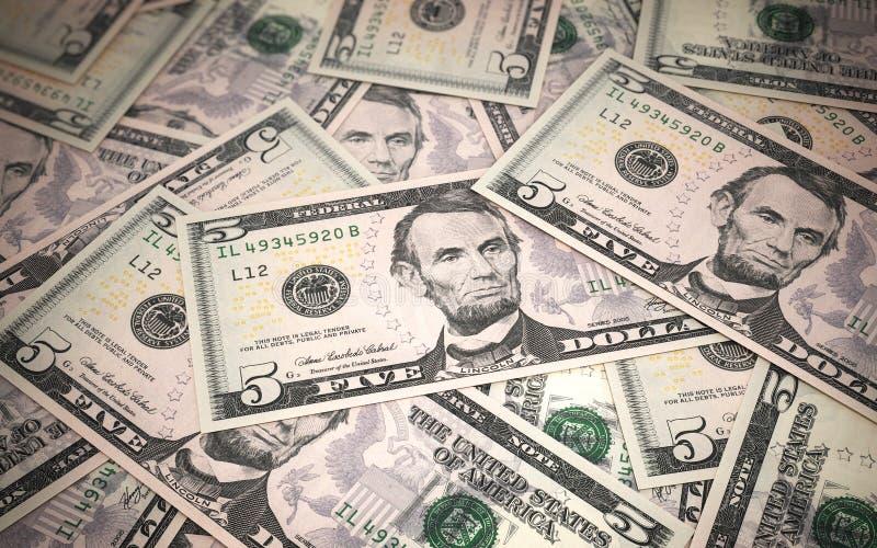 Vijf dollarsbankbiljetten vector illustratie