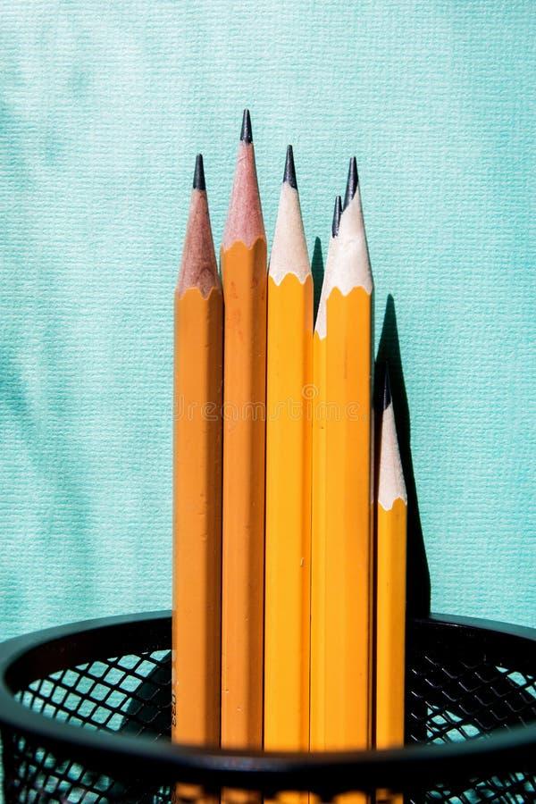 Vijf eenvoudige potloden blauwe achtergrond met exemplaarruimte Selectieve nadruk stock illustratie