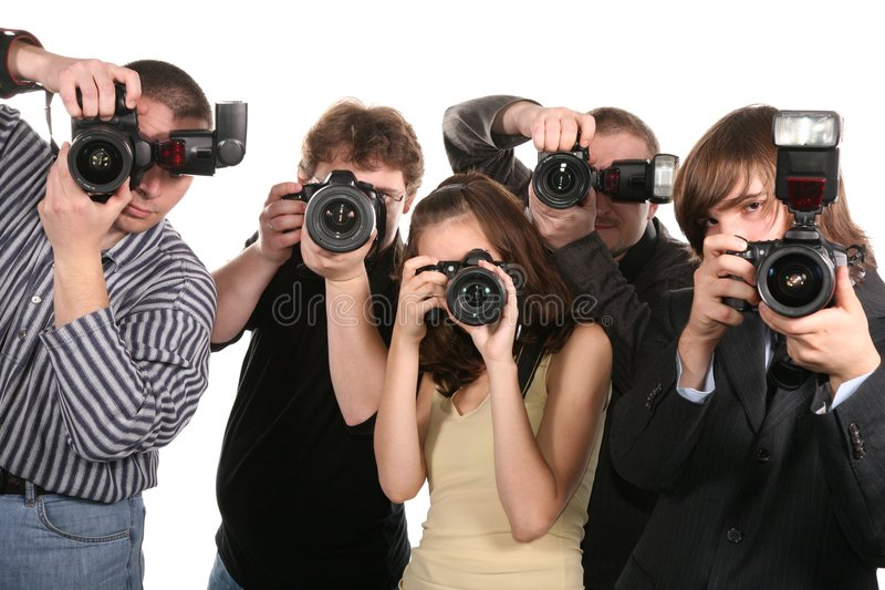 Vijf fotografen stock fotografie