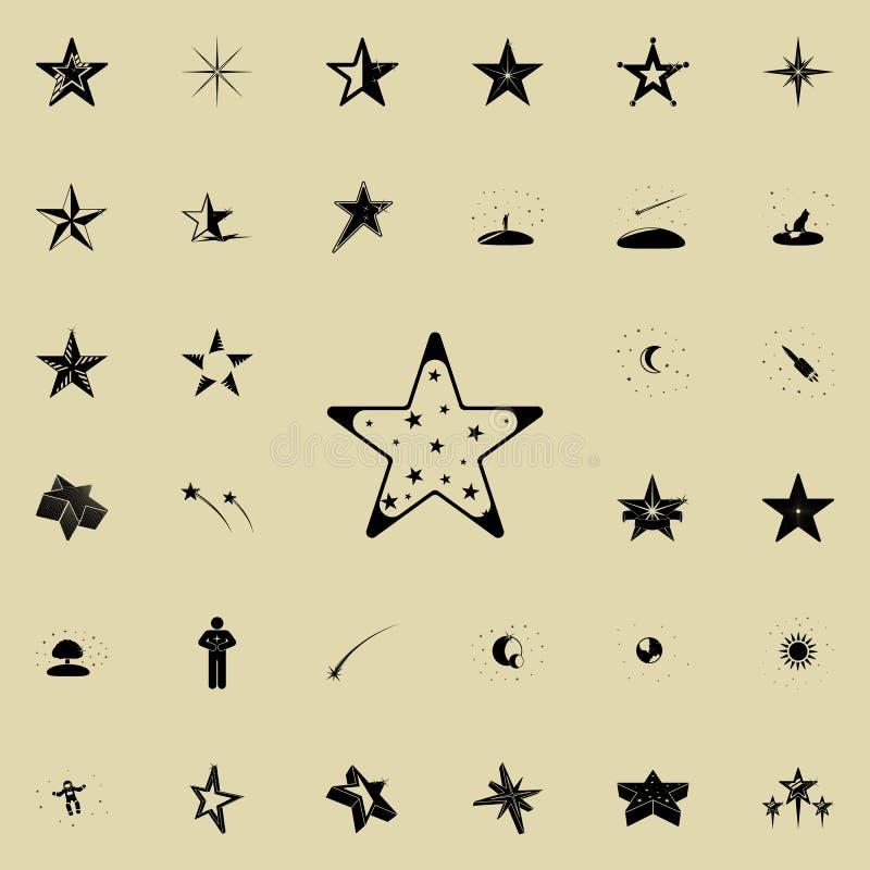 Vijf-gericht sterpictogram Voor Web wordt geplaatst dat en het mobiele algemene begrip van sterrenpictogrammen stock illustratie