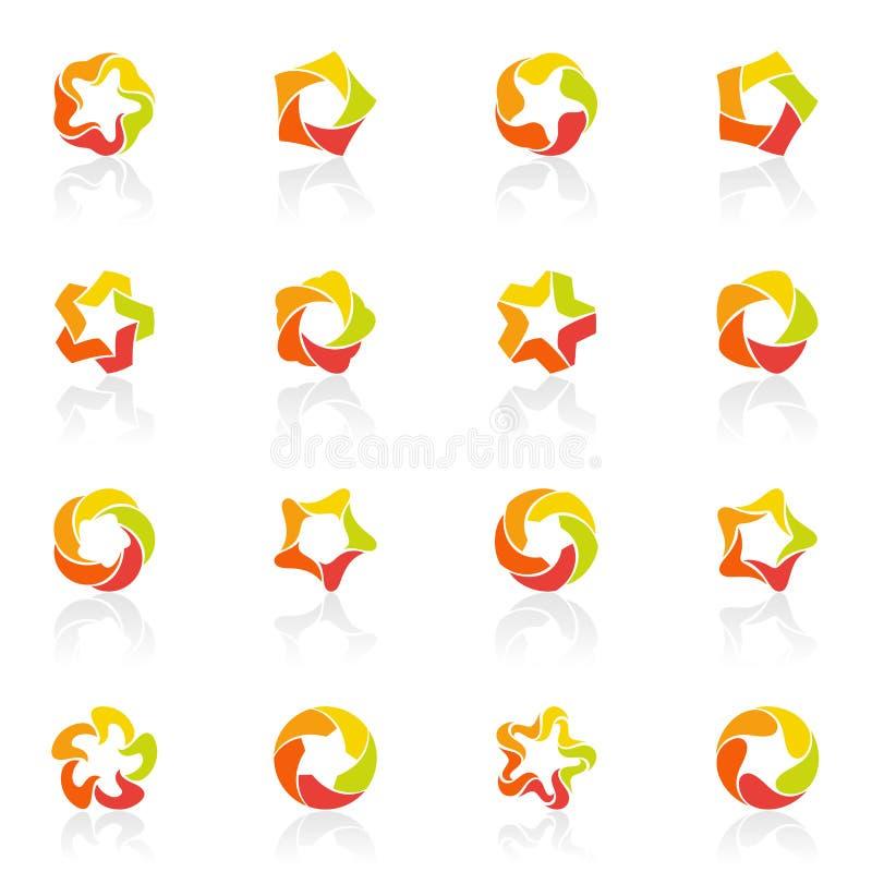 Vijf-gerichte sterren. De vector reeks van het embleemmalplaatje. vector illustratie