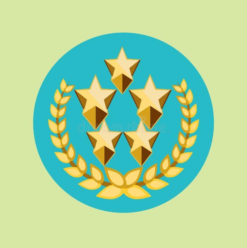 Vijf gouden sterren en het gouden pictogram van de korrelskroon royalty-vrije illustratie
