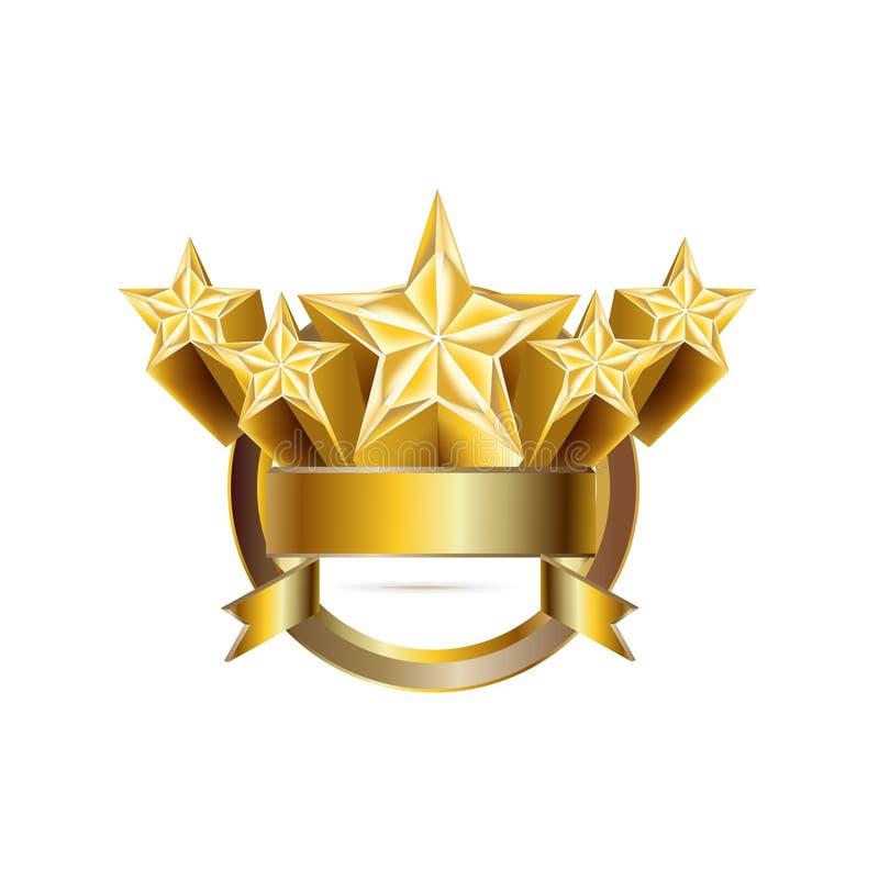 Vijf gouden sterren in geïsoleerde gestalte gegeven embleemcirkel royalty-vrije illustratie
