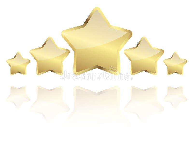 vijf gouden sterren met bezinning op een rij stock illustratie