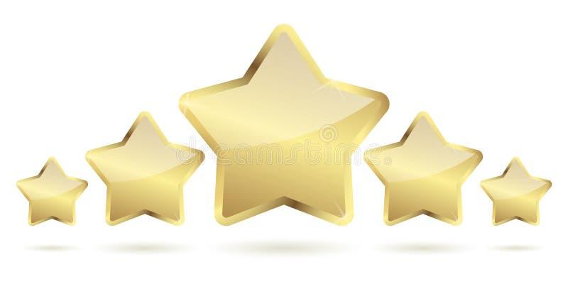 vijf gouden sterren met schaduw op een rij stock illustratie