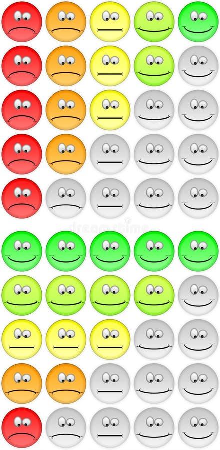 Vijf het schatten emojis stock illustratie