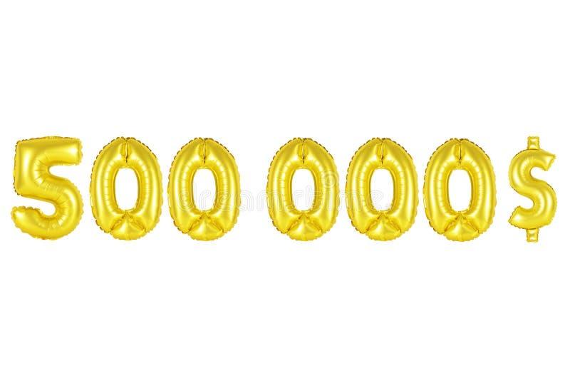 Vijf honderdduizendendollars, gouden kleur stock afbeelding