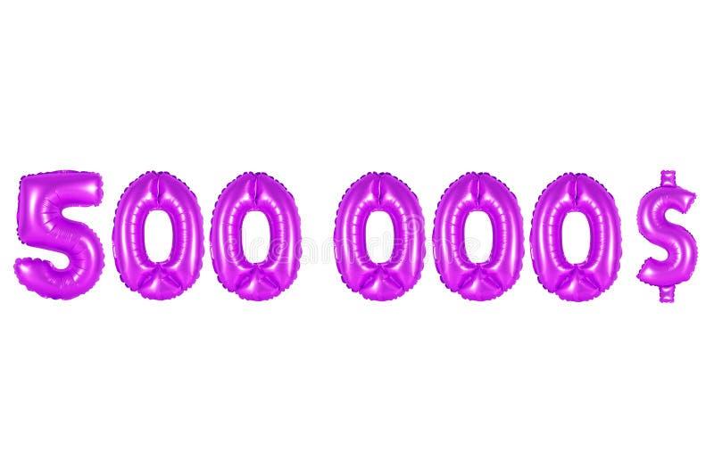 Vijf honderdduizendendollars, purpere kleur stock afbeelding