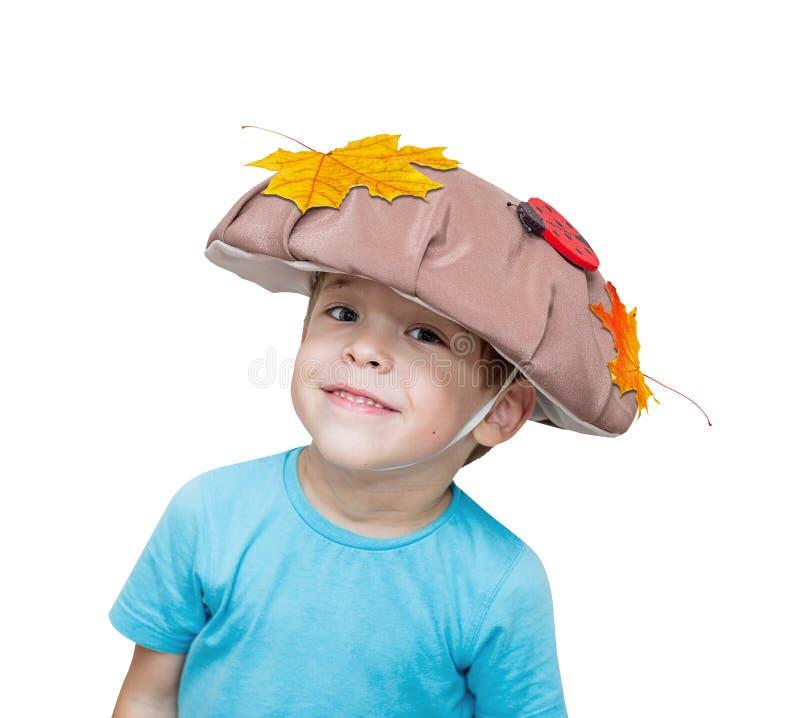 Vijf-jaar-oude jongen in paddestoelkostuum, kostuum, gouden esdoornbladeren royalty-vrije stock foto's